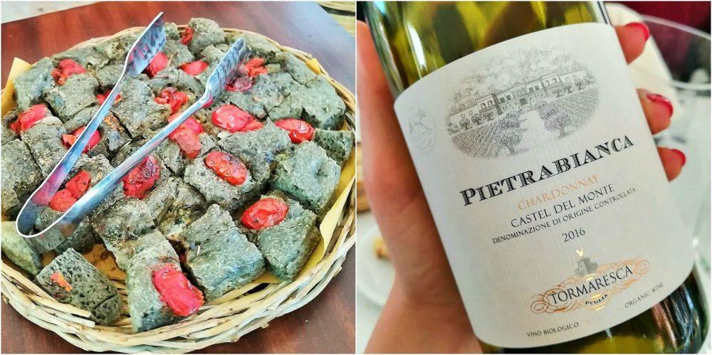 Tormaresca - Focaccia di grano arso e pomodorini con il vino Pietrabianca 2016