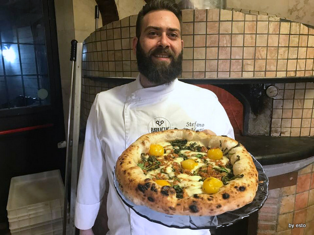 Barbacià Stefano De Martino pizza gamberetti di fuime crescione acquatico fiordilatte pomodorini gialli