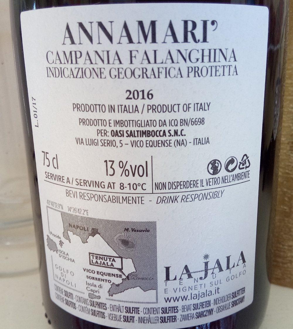 Controetichetta Annamari' Campania Falanghina Igp 2016 La Jala