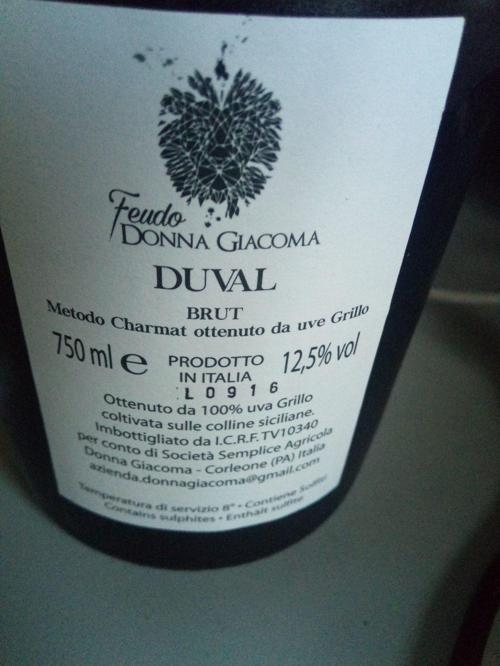 Controetichetta Duval Brut Metodo Charmat Feudo Donna Giacoma
