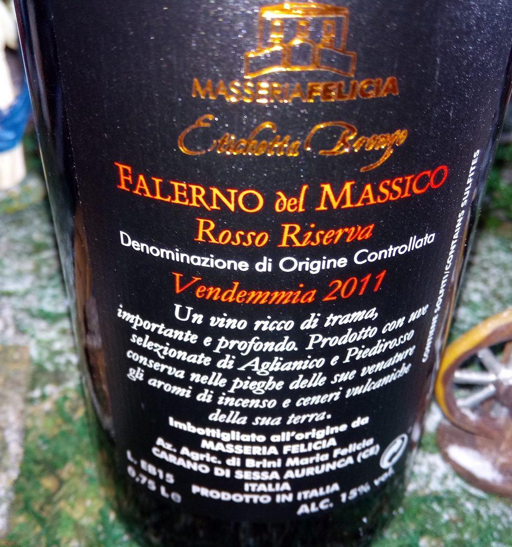 Controetichetta Falerno del Massico Rosso di Riserva Etichetta Bronzo Doc 2011 Masseria Felicia