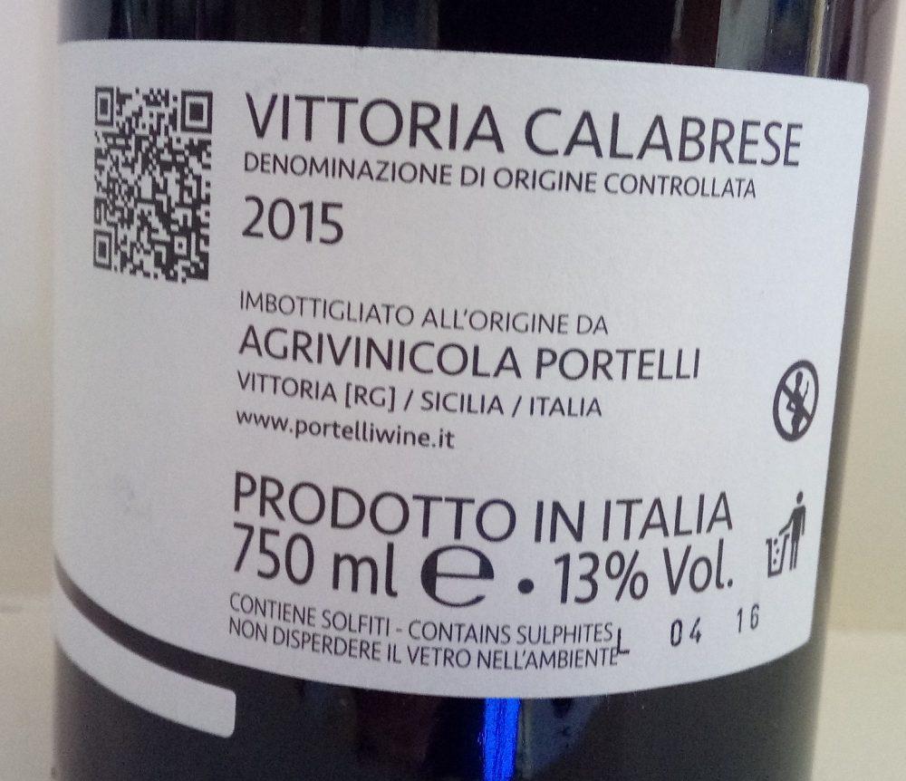 Controetichetta Nero D'Avola Vittoria Calabrese Doc 2015 Portelli