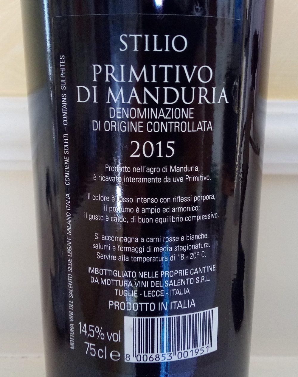 Controetichetta Stilio Primitivo di Manduria Doc 2015 Villa Mottura