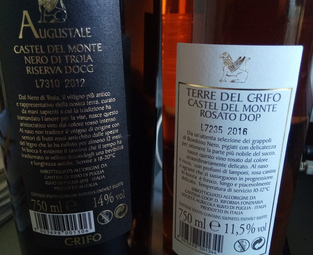 Controetichette vini di Terre del Grifo