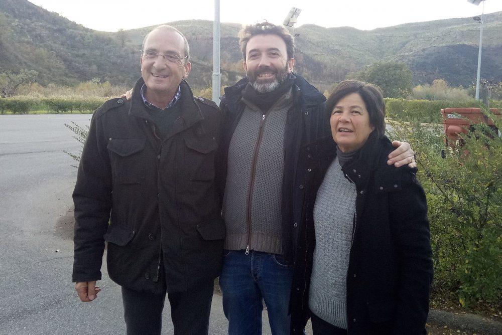 Ermanno Falvo con la moglie e Vincenzo Mercurio