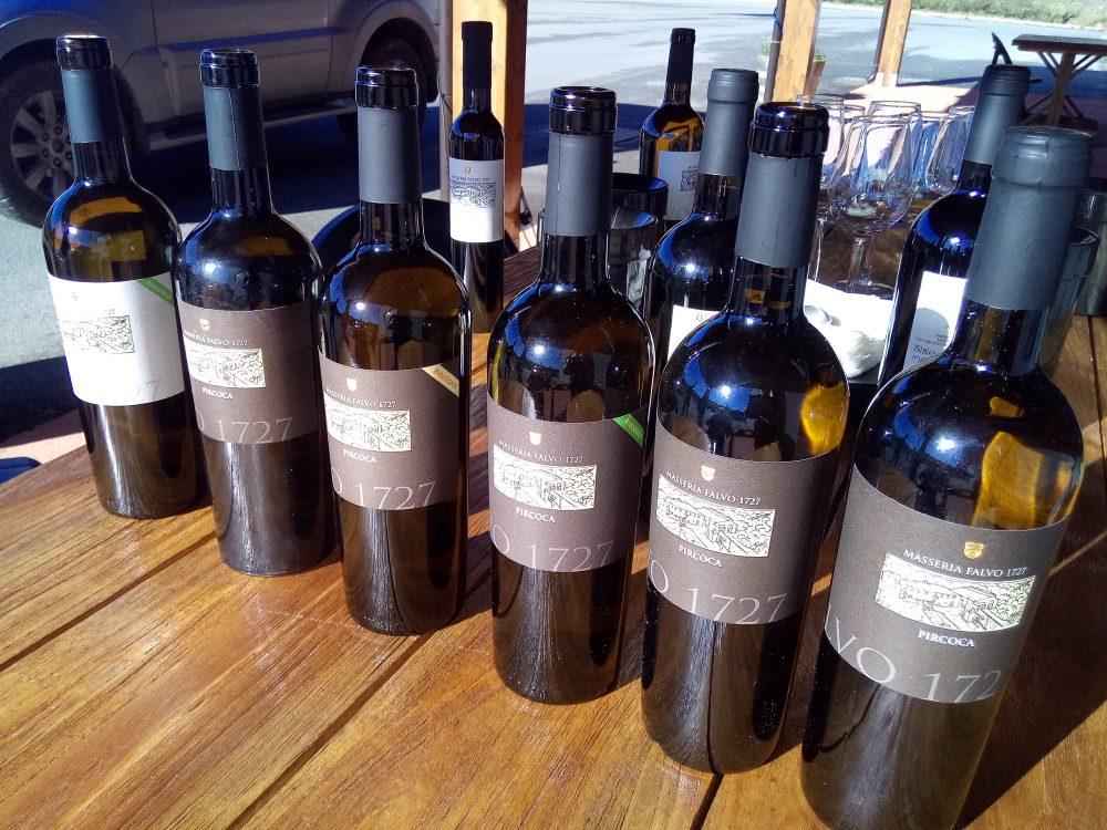 Masseria Falvo, Bottiglie di vino in degustazione