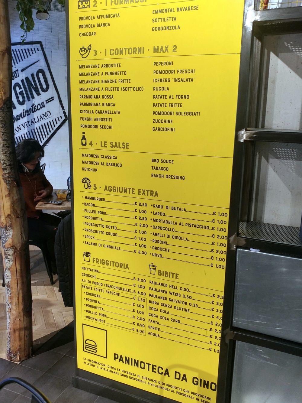 Paninoteca Da Gino a San Vitaliano. La parte inferiore del menu alla parete