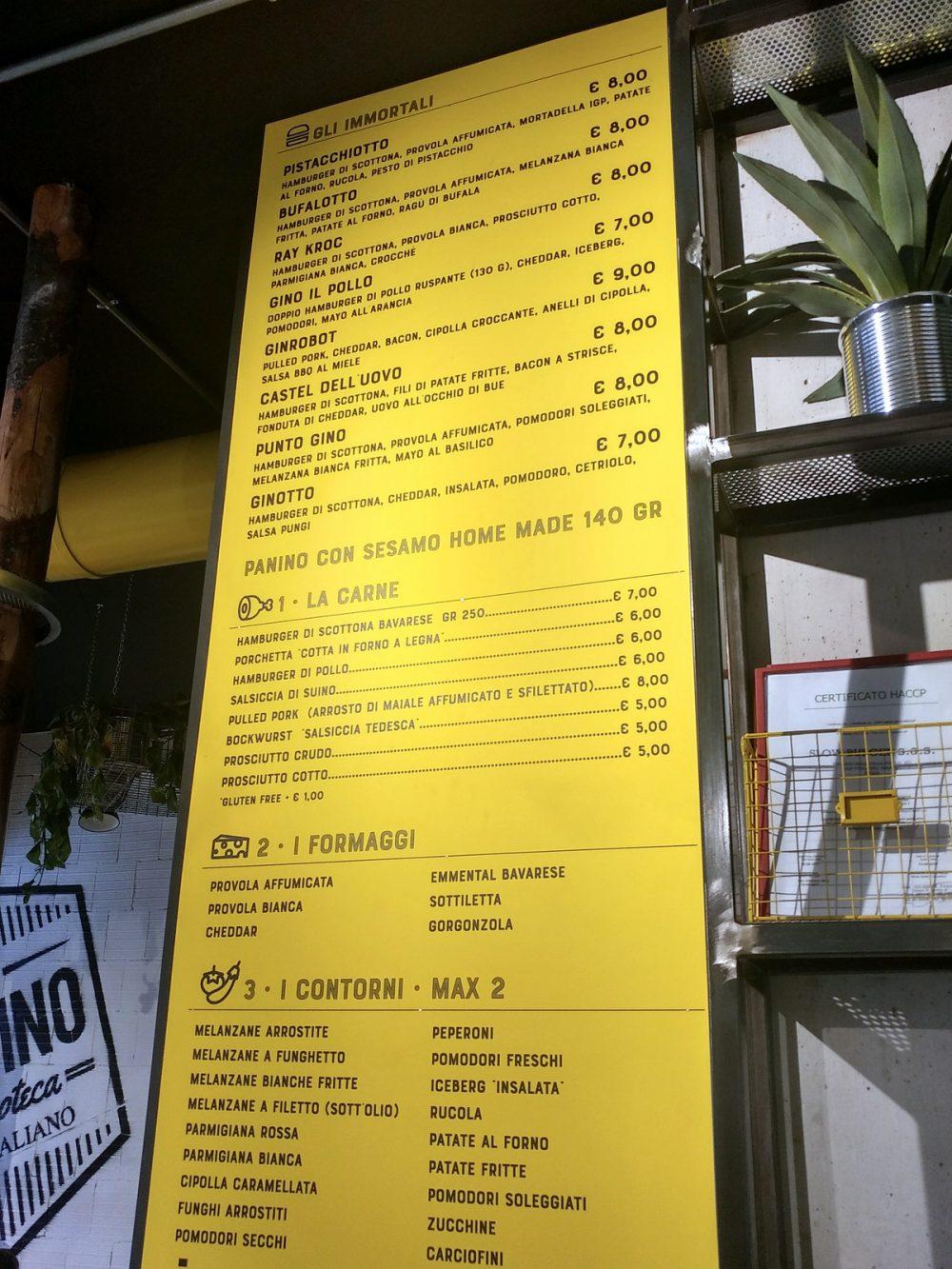 Paninoteca Da Gino a San Vitaliano. La parte superiore del menu alla parete