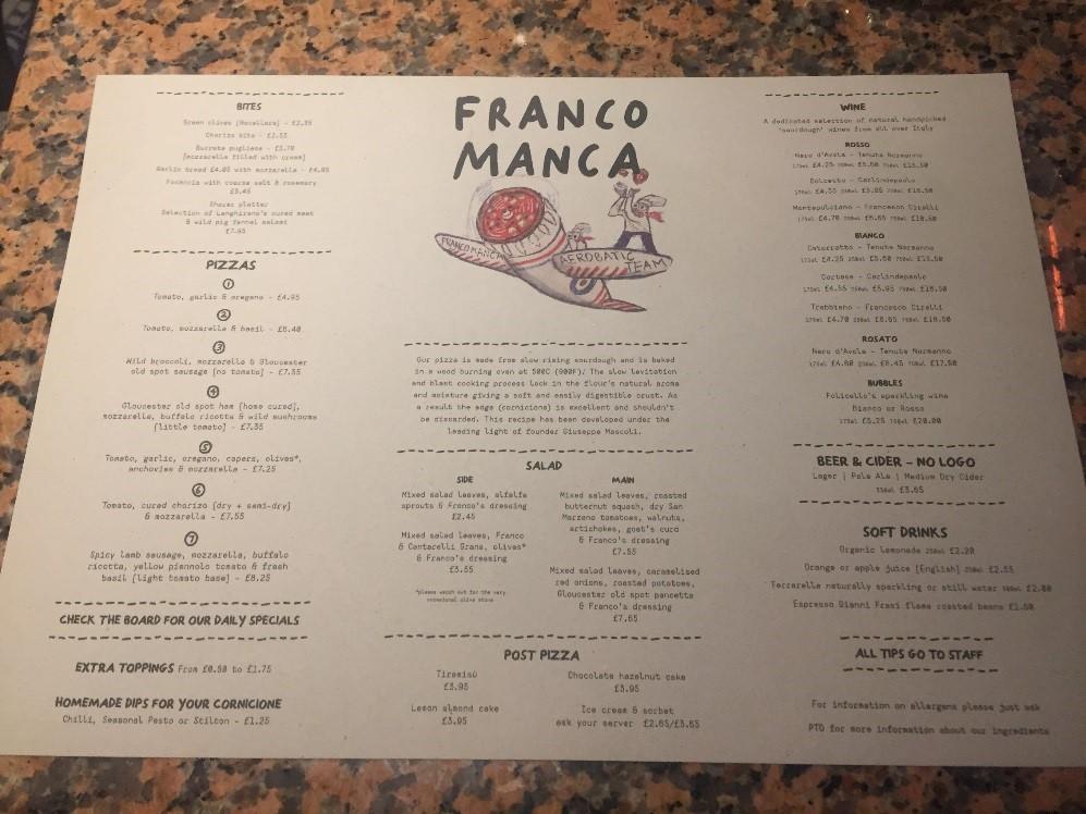 Il menu' invernale, dove compare anche la pizza salsiccia e friarielli