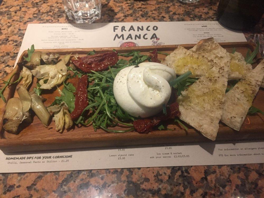 Franco Manca Southampton - Burratina con pomodori secchi, carciofini e spicchi di pane pizza