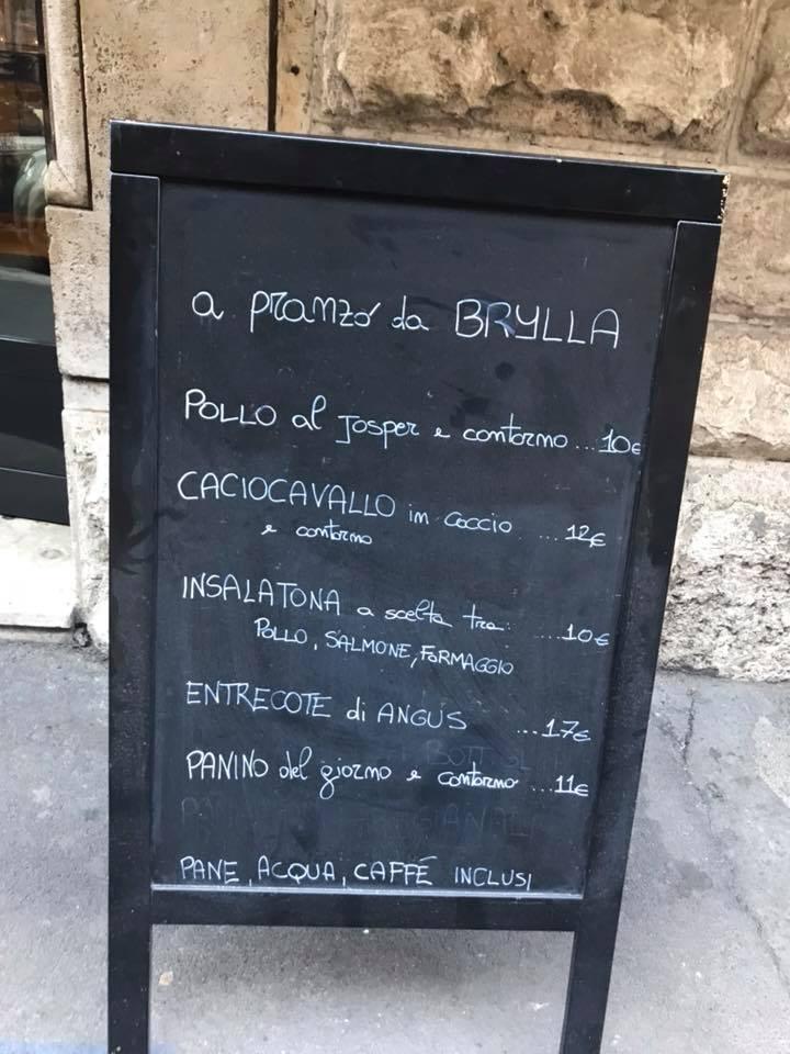 Brylla, menu'