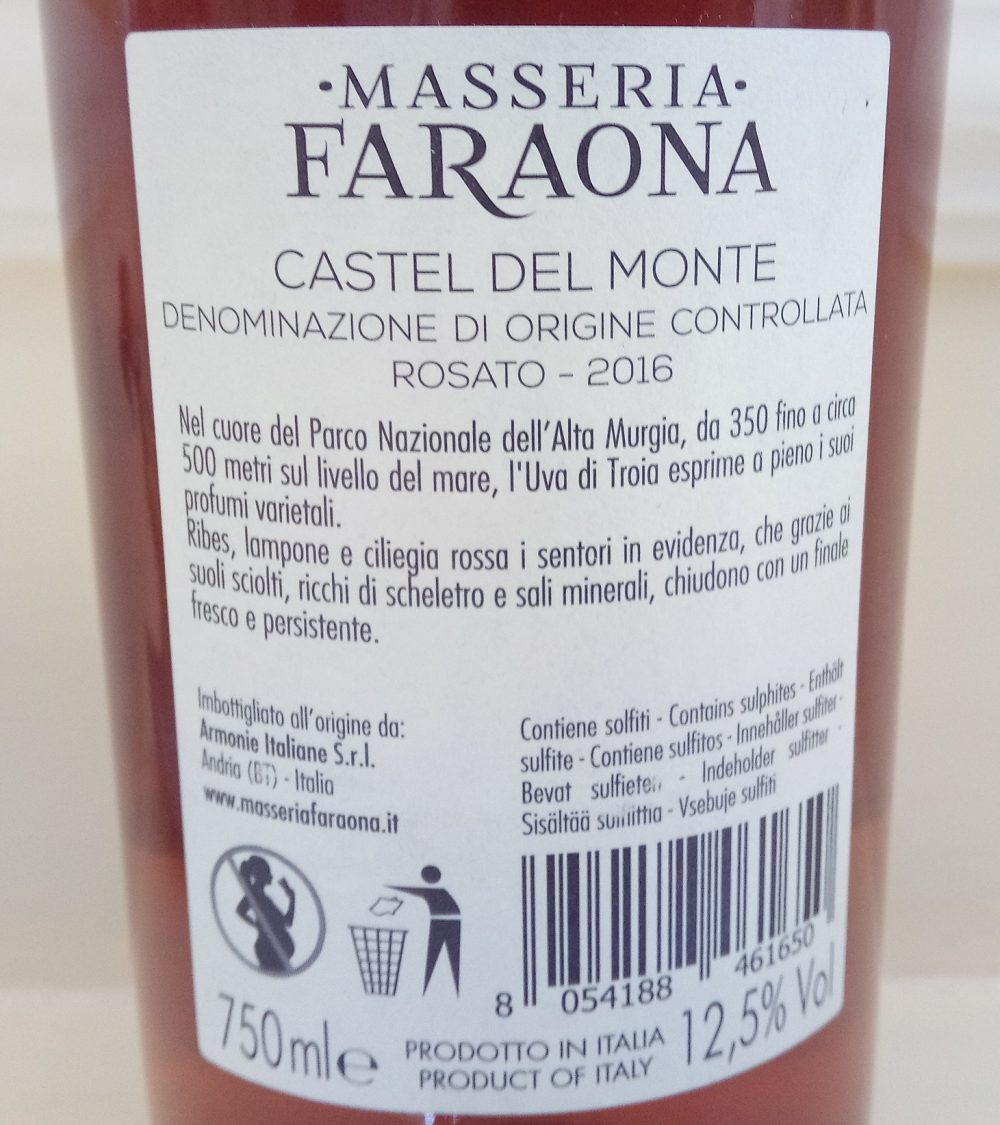 Controetichetta Piuma Rosa Rosato Castel del Monte Doc 2016 Masseria Faraona