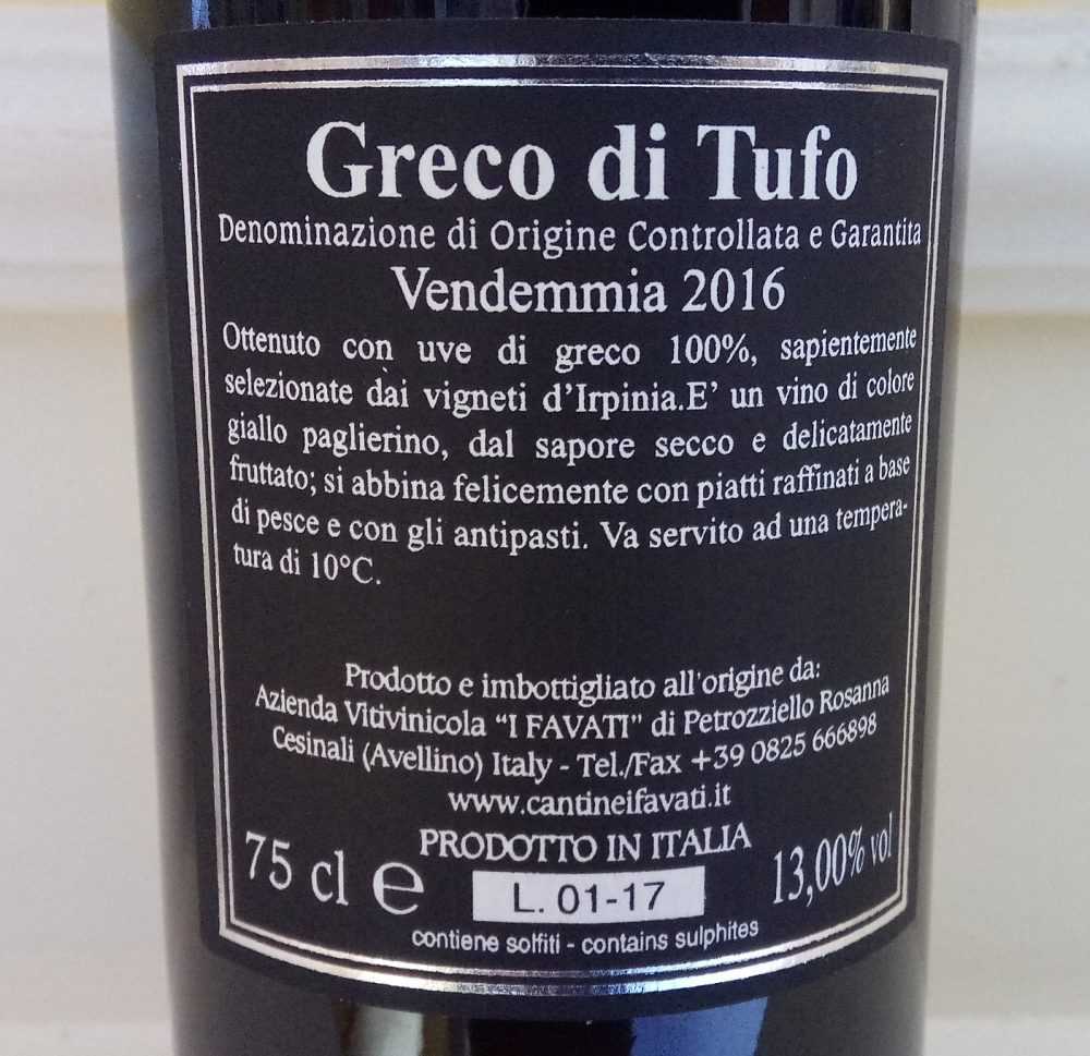 Controetichetta Terrantica Greco di Tufo Docg 2016 I Favatri