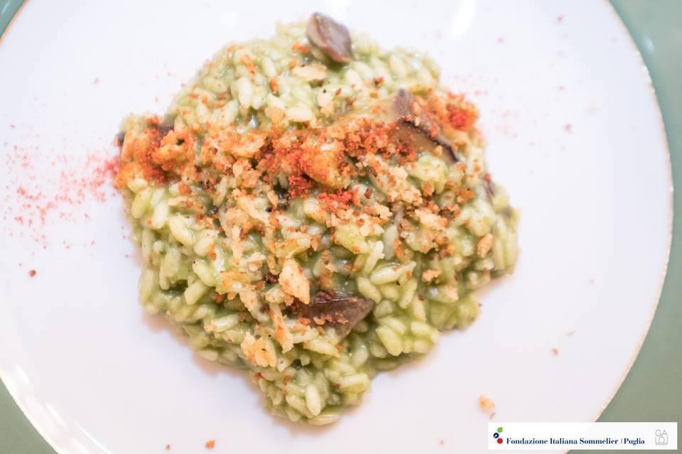 Supertuscan Balducci - riso Acquerello con cime di rapa di Minervino Murge, funghi cardoncelli e pane croccante