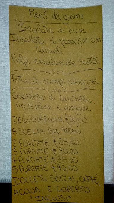 Trattoria San Domenico - menu'