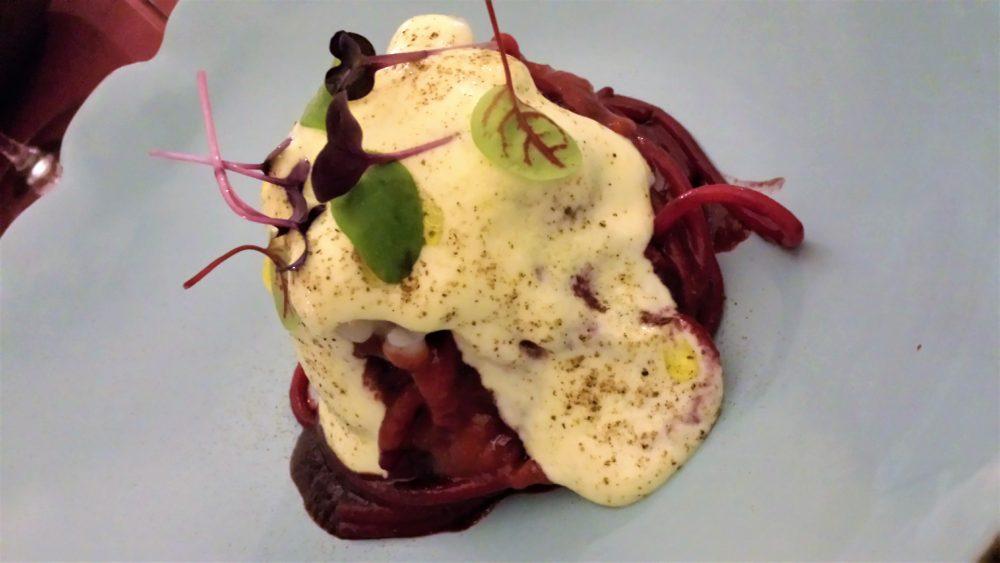 Capocotta. Spaghettoro salsa barbeQUE, crudo di scampo e suo zabaione