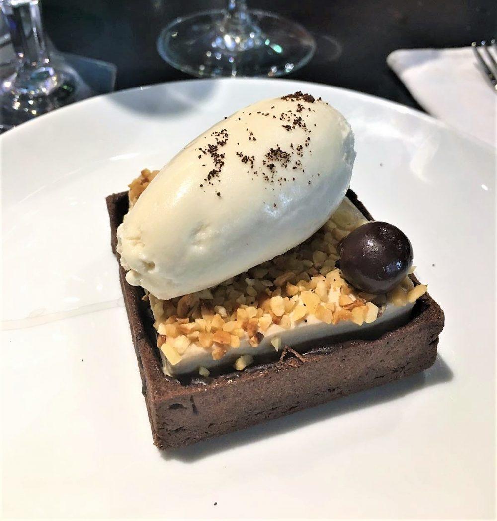 Potafiori - Namelaka al caffe' e cioccolato bianco, frolla al cacao, gelato alla nocciola delle Langhe
