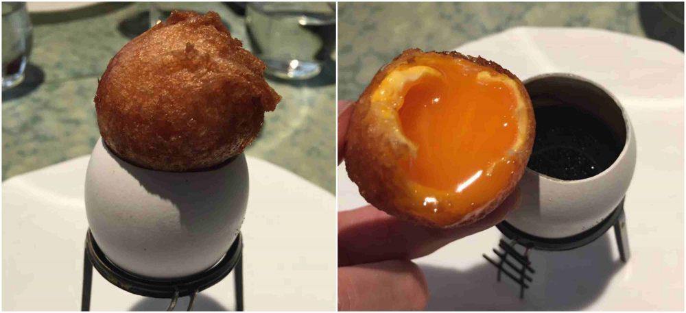 Disfrutar, uovo fritto con gelatina di funghi