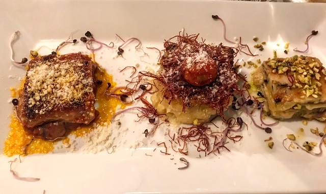 Osteria Excelente - Sformato di patate e carciofi, Polenta con sfilacci di carne e millefoglie di zucchine