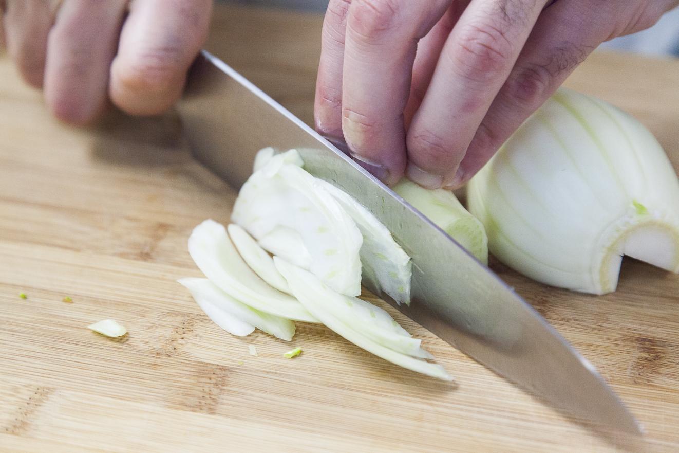 Gamberoni di Mazara su crema di finocchio al limone, preparazione