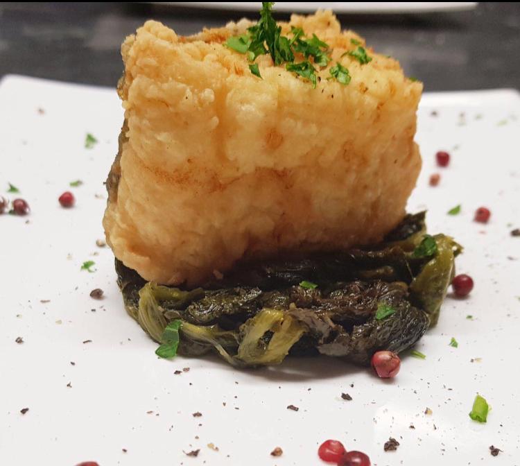 Osteria Excelente - Baccala' fritto con scarola ripassata