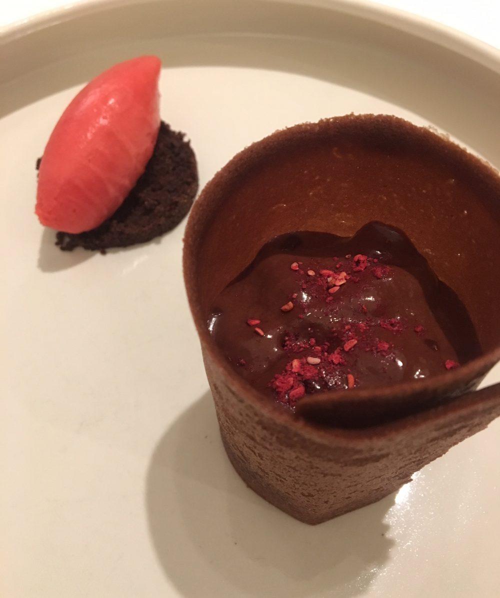 Quintessenza - cioccolato araguani e sorbetto al lampone