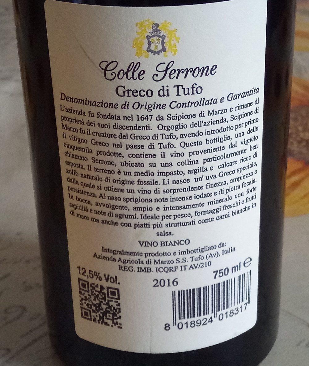 Controetichetta Colle Serrone Greco di Tufo Docg 2016 Cantine Di Marzo