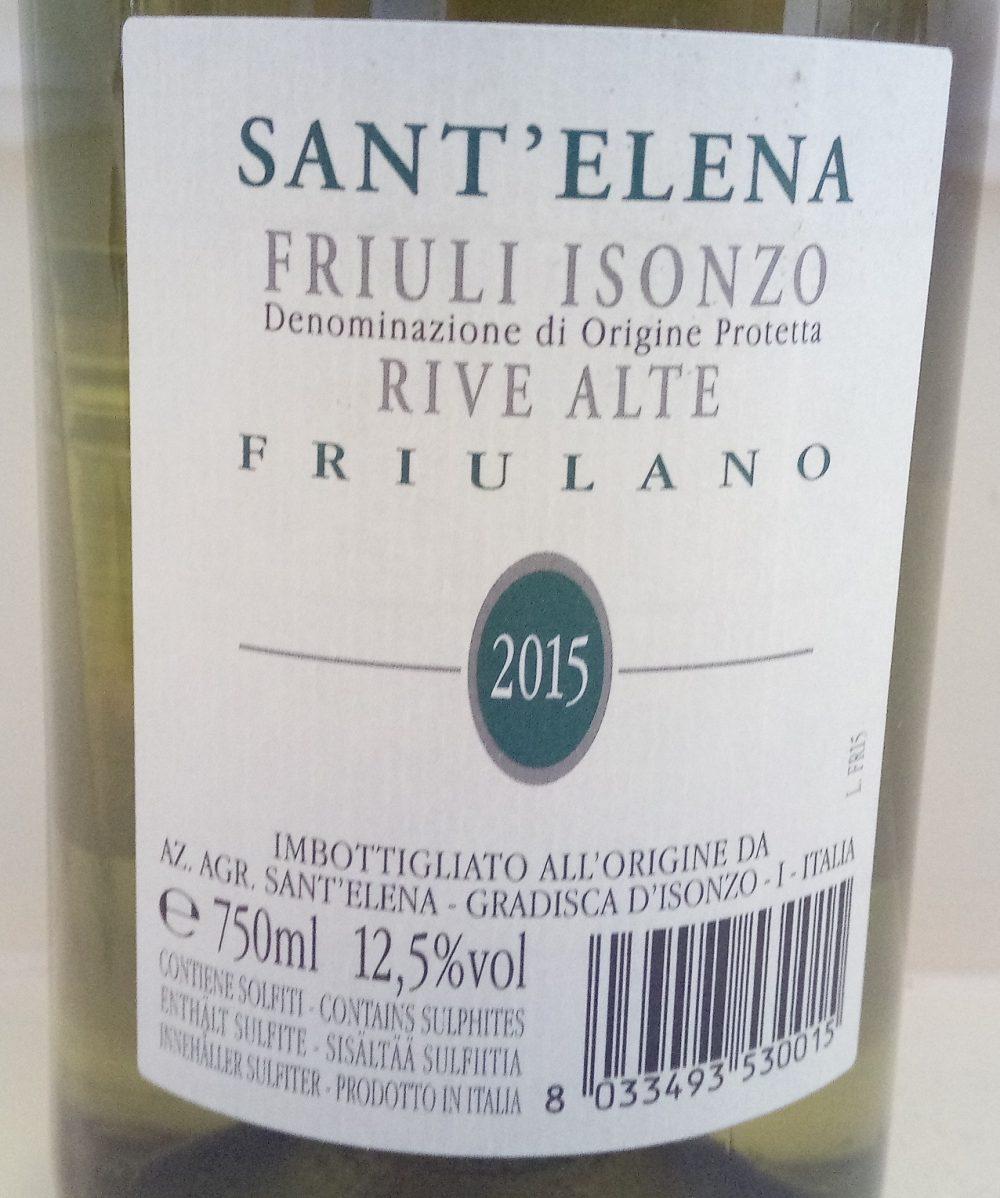 Controetichetta Friulano Isonzo Doc 2015 Terre Alte Sant'Elena