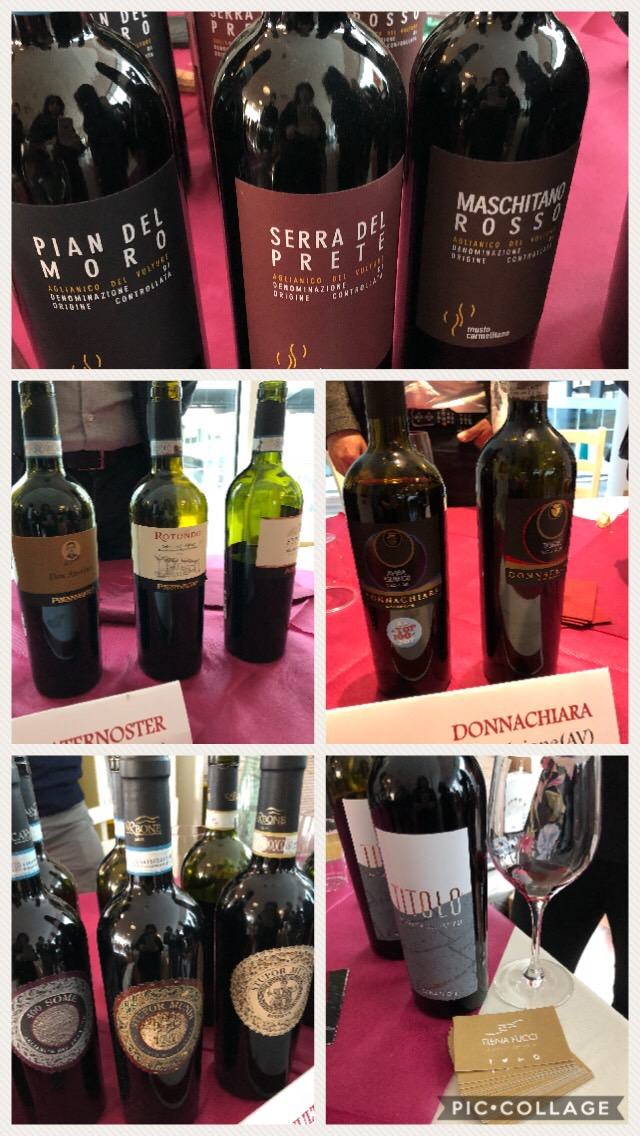 Diverse etichette di Aglianico dall'Irpinia, Puglia, Colline Salernitane