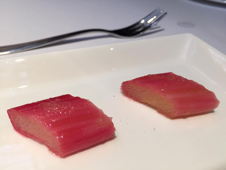 Spazio Roma, amuse bouche, rabarbaro marinato
