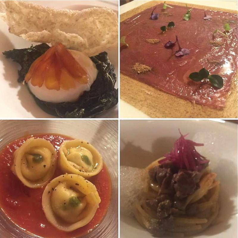 Tenuta Borgo Santa Cecilia, L'uovo, il carpaccio di capriolo, il raviolo, e lo spaghetto con ragu' di cinghiale