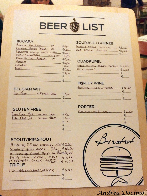 Birstrot, Montesarchio. La carta delle birre