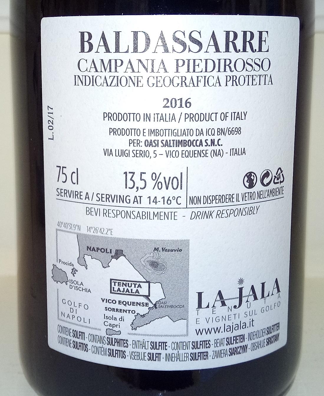 Controetichetta Baldassarre Campania Piedirosso Igp 2016 La Jala