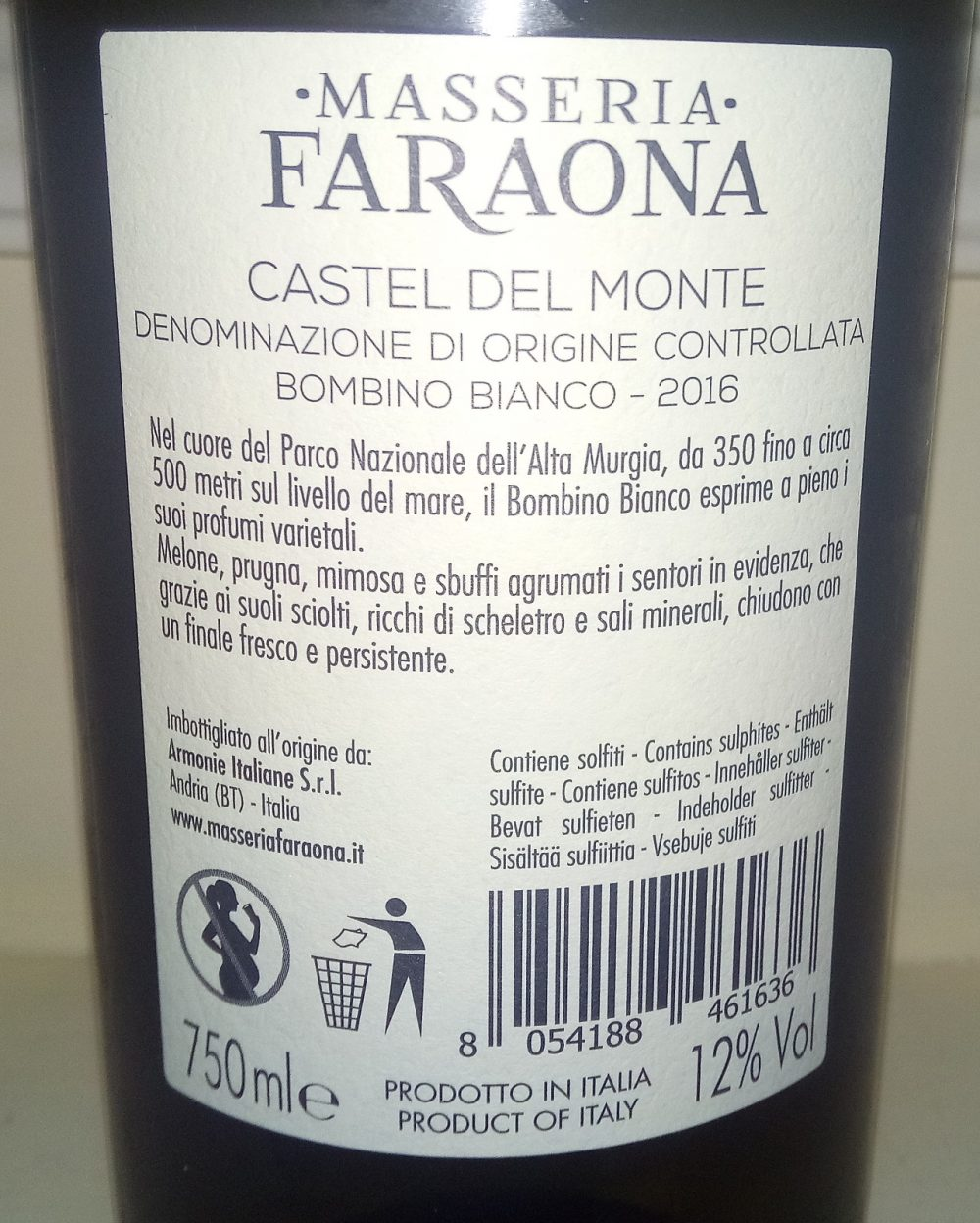 Controetichetta Bombino Bianco Castel del Monte Doc 2016 Masseria Faraona