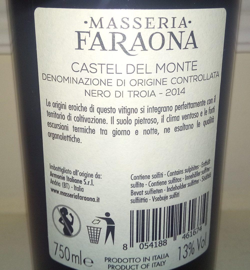 Controetichetta Nero di Troia Castel del Monte Doc 2014 Masseria Faraona