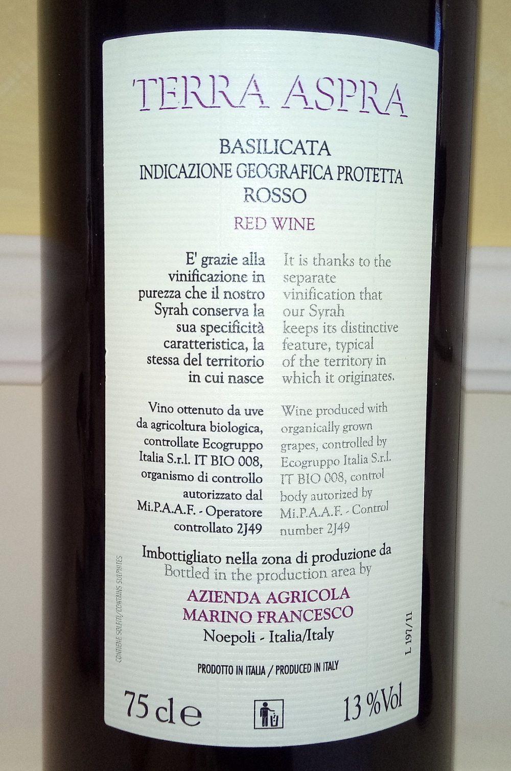 Controetichetta Terra Aspra Rosso Basilicata Igp 2009 Marino