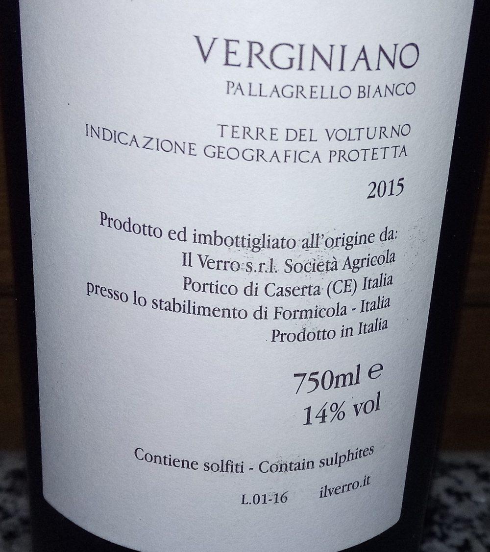 Controetichetta Verginiano Pallagrello Bianco Terre del Volturno Igp v2015 Il Verro