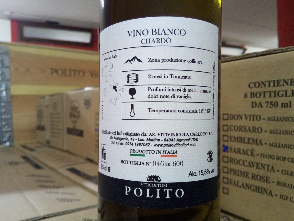 Controetichetta Vino Bianco Chardo' Polito