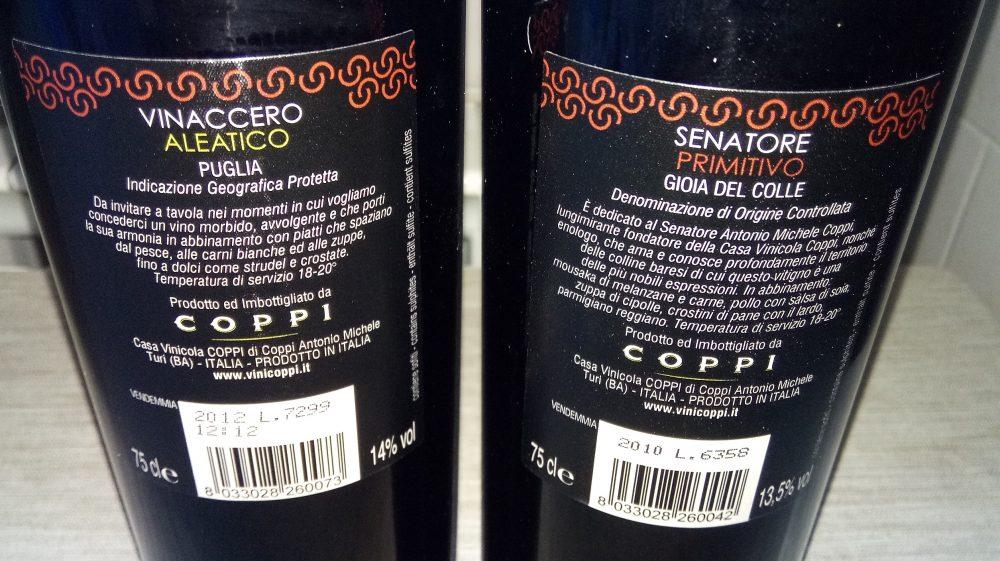 Controetichette vini di Coppi vincitori a Radici del Sud 2017
