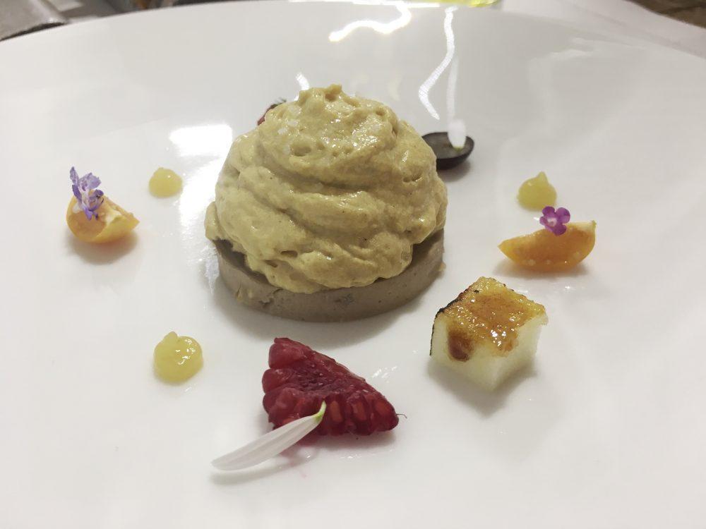 Cristian Torsiello - grano, porcini secchi, spuma di patate e foie gras e frutta