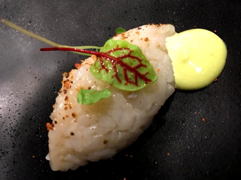 Pigneto 1870 - Crudo di Calamaro, Crumble di Pane & Mayo al Wasabi