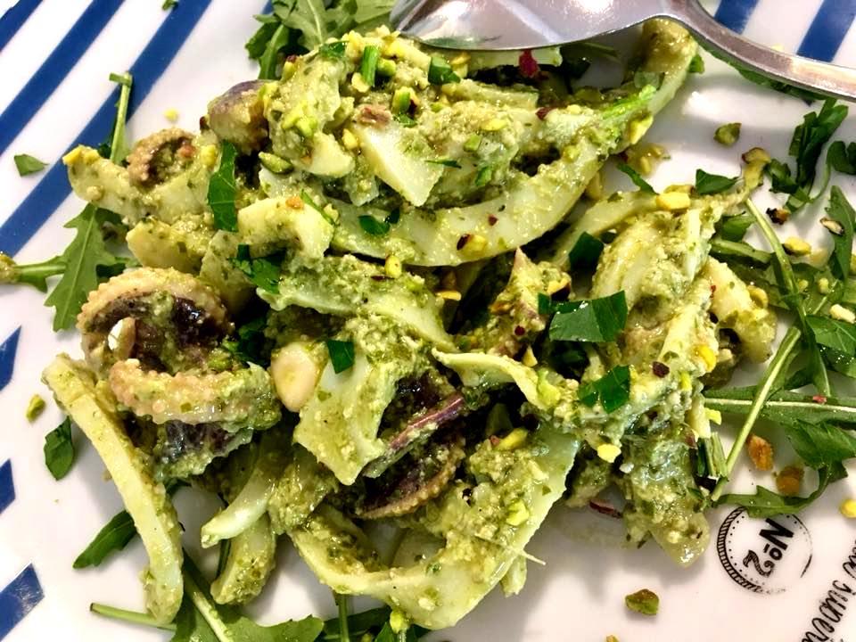 La Voce del Mare - Calamaro Bollito, Pistacchio & Pesto di Basilico