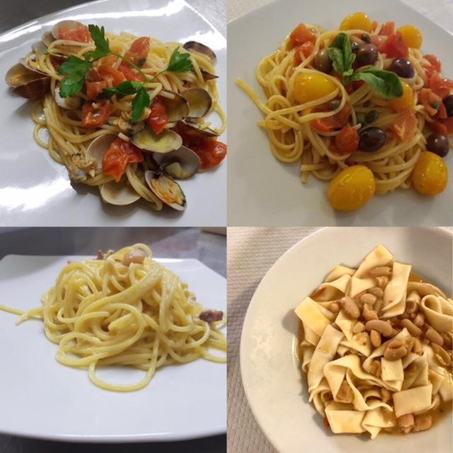 O' Masto, Spaghetti con le vongole, Spaghetti alla puttanesca, Spaghetti alla carbonara. Pettole e fagioli