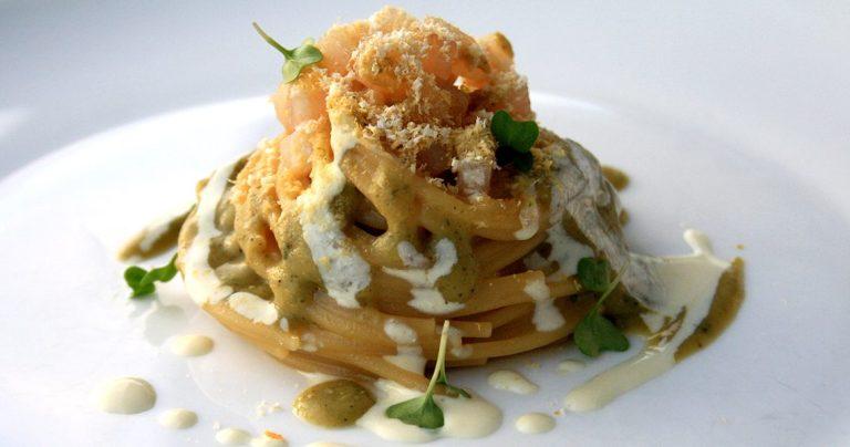 Spaghetto, ceci e castagna affumicato
