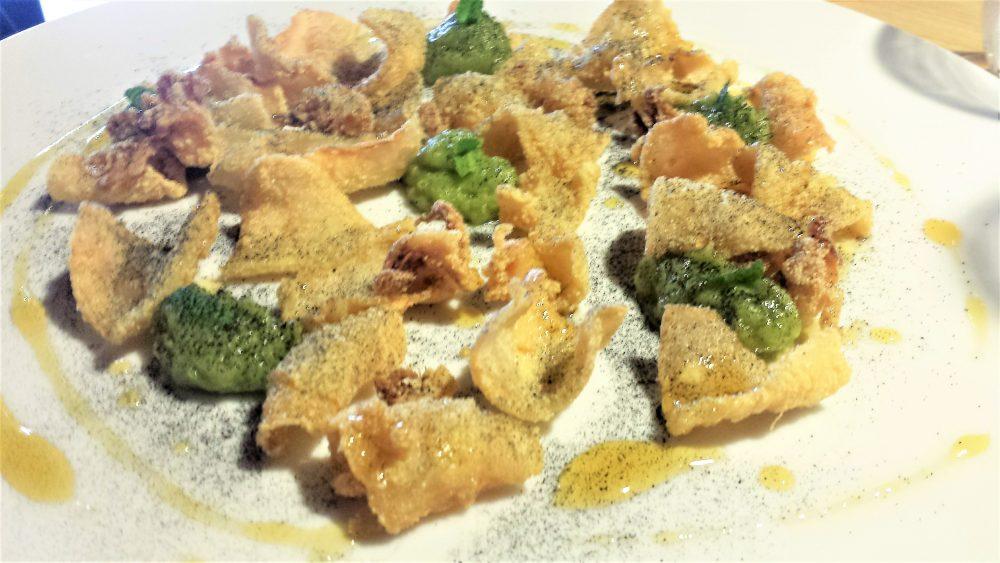 Impronta d'acqua, Frittura di calamaretti, guacamole, salsa agrodolce