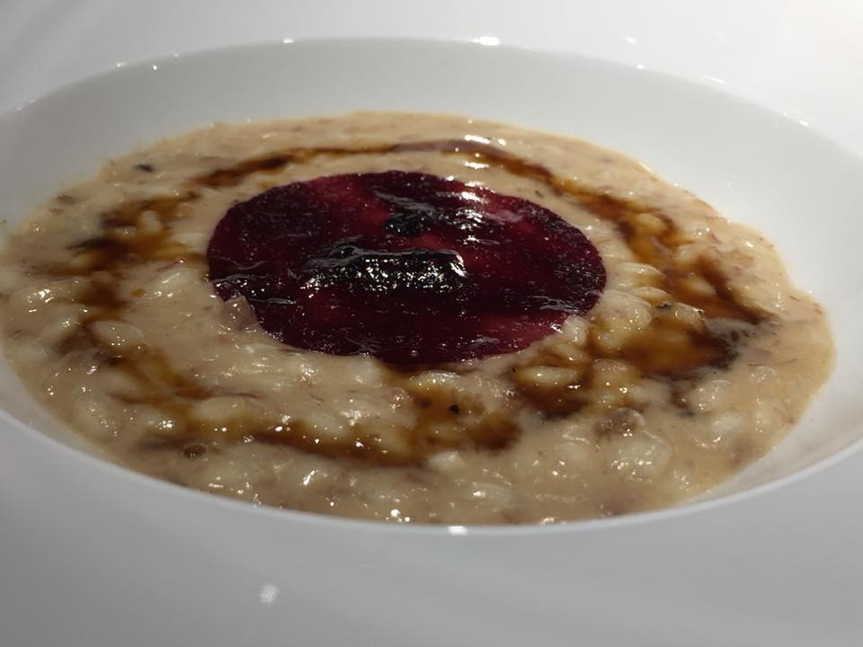 Retrobottega, risotto, stinco e mirtilli