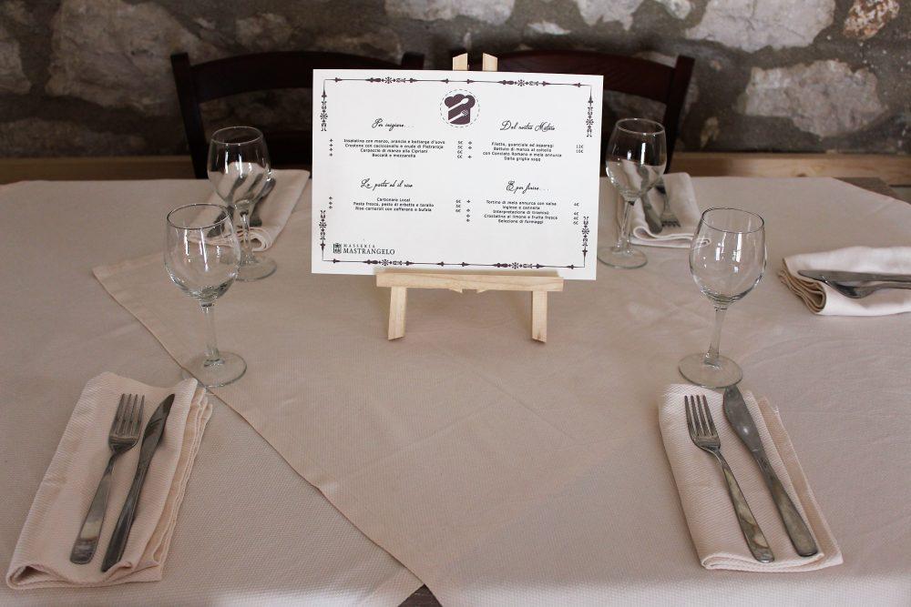 Masseria Mastrangelo il menu al tavolo