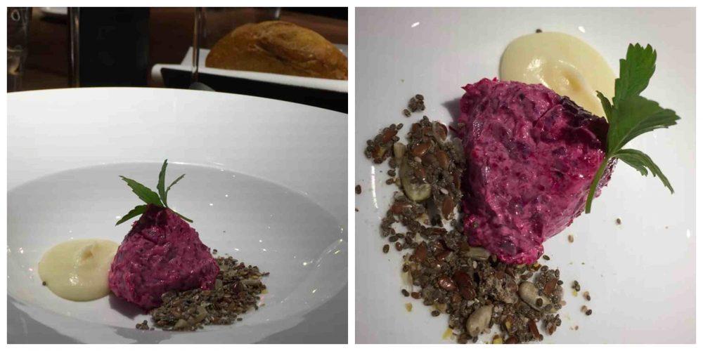 Retrobottega, il benvenuto con rapa rossa, parmigiano e semi