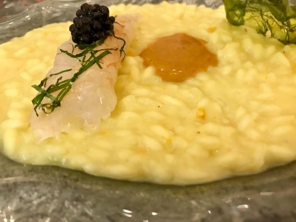 Don Alfonso. Il risotto con scampo crudo, caviale e ricci di mare