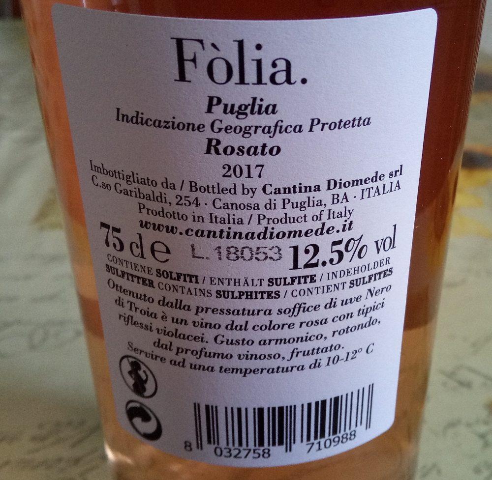 Controetichetta Folia Rosato Puglia Igp 2017 Cantina Diomede